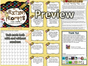 Writing Bundle- A Year's Worth of Journaling and Writing Task Cards
