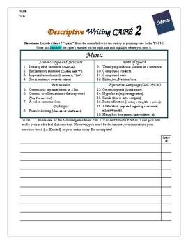 Writing CAFE Descriptive 1-5 Mini BUNDLE