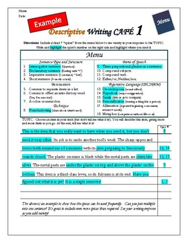 """Writing CAFE (Descriptive 1)- Using """"Spices"""" in Writing"""