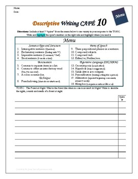 "Writing CAFE (Descriptive 10)- Using ""Spices"" in Writing"