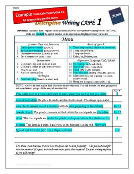 "Writing CAFE (Descriptive 8)- Using ""Spices"" in Writing"