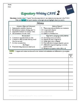 Writing CAFE Expository 1-5 mini BUNDLE