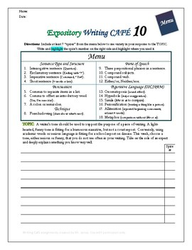 "Writing CAFE (Expository 10)- Using ""Spices"" in Writing"