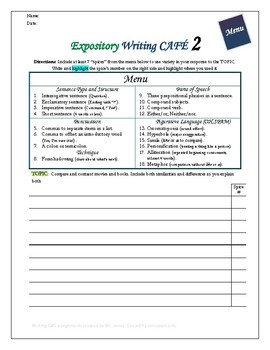 """Writing CAFE (Expository 2)- Using """"Spices"""" in Writing"""