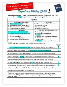 """Writing CAFE (Expository 6)- Using """"Spices"""" in Writing"""