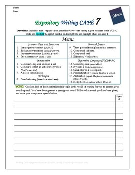 "Writing CAFE (Expository 7)- Using ""Spices"" in Writing"