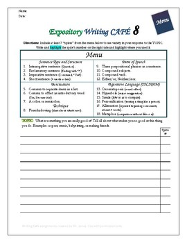 """Writing CAFE (Expository 8)- Using """"Spices"""" in Writing"""