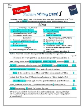 """Writing CAFE (Narrative 1)- Using """"Spices"""" in Writing"""