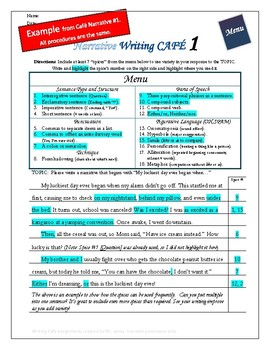 """Writing CAFE (Narrative 7)- Using """"Spices"""" in Writing"""