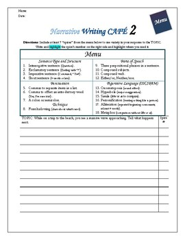 "Writing CAFE Narrative Mini BUNDLE (1-5)- Using ""Spices"" in Writing"