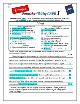"Writing CAFE (Persuasive 1)- Using ""Spices"" in Writing"