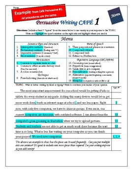 "Writing CAFE (Persuasive 2)- Using ""Spices"" in Writing"