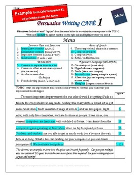 "Writing CAFE (Persuasive 7)- Using ""Spices"" in Writing"