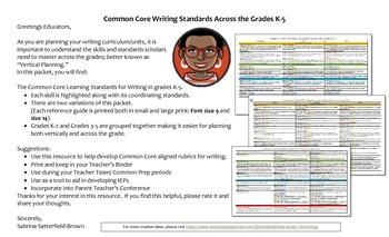 Writing: CCLS Vertical Planning Grades K-5