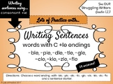 Writing Sentences with CONSONANT +LE words for Struggling Writers
