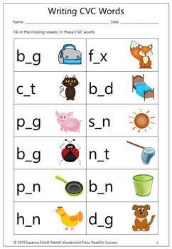 Writing CVC, CCVC and CVCC Words Worksheets by Read for ...
