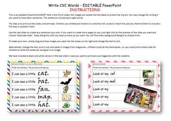 Writing CVC Words Activity Editable