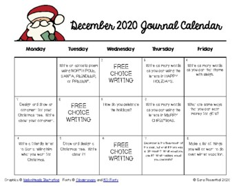 Writing Calendar - December 2017 & IB