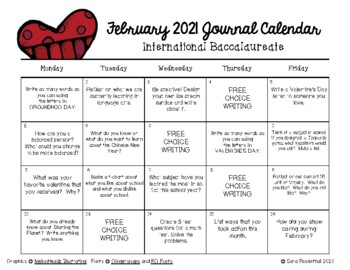 Write In Calendar February 2019 Writing Calendar   February 2019 & IB by Miss Rosenthal | TpT