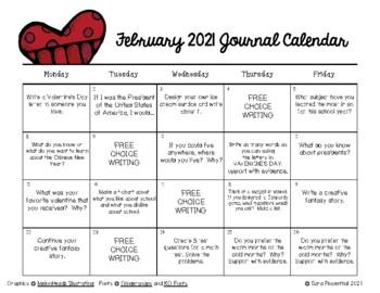 Writing Calendar -  February 2019 & IB