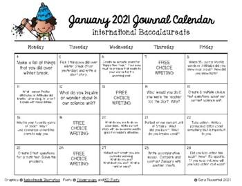 Writing Calendar -  January 2017 & IB