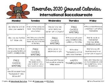 Writing Calendar - November 2017 & IB