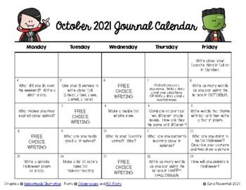 Writing Calendar - October 2017 & IB