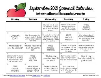 Writing Calendar - September 2016 & IB