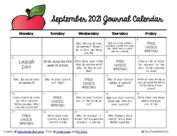 Writing Calendar - September 2017 & IB