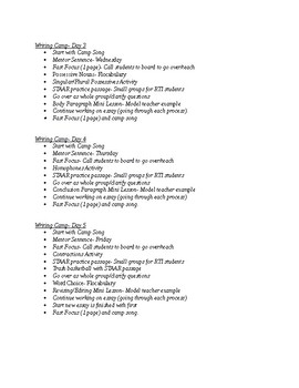 Writing Camp Schedule- 2 Weeks