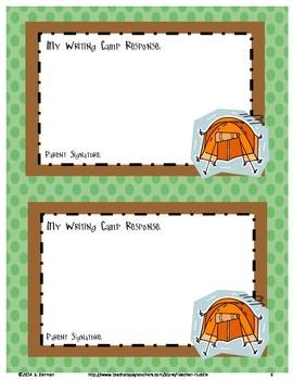 Writing Camp Student/Parent Log