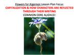 Writing & Capitalization Lesson Plan, Activities, Handouts- Flowers for Algernon