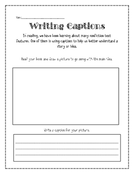 Writing Captions Freebie {Nonfiction Text Features}