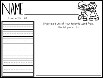 Writing Cards- November Word Cards