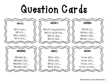 Writing Cards- Transition words and WH Questions