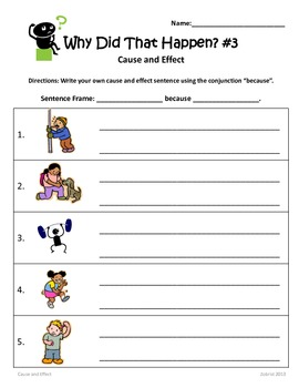 Writing Cause and Effect Sentences: 1st-3rd Grade Common Core Practice Packe t