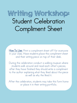 Writing Celebration Compliment Page