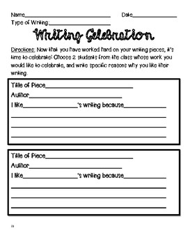 Writing Celebration Form / Peer Celebration for Writing