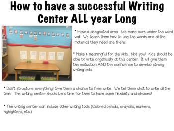 Beginning of Year Writing Center - Kindergarten