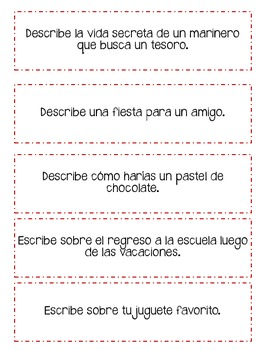 Writing Center Activities (Spanish)