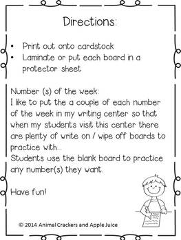 Writing Center Activities: Write On Wipe Off Boards: Math Boards