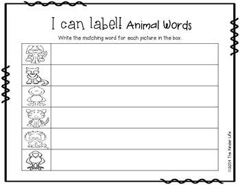 FREEBIE Write the Room Beginning of the Year Animals Writing Center Activity