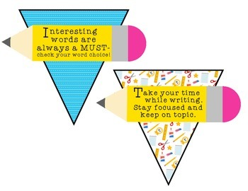 Writing Center Bunting with Student Reminders FREEBIE!