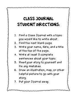 Writing Center Class Journal Prompts