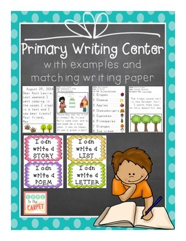 Primary Writing Center with Examples, Paper, & Signs