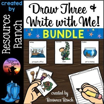 Writing Activities Draw Three and Write with Me Bundle