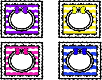 Writing Center Labels ~ Chevron Frames with Bows!