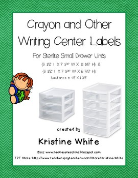 Writing Center Labels for Small Sterilite Drawers