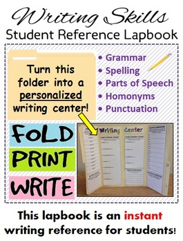 Writing Center Lapbook (grammar, punctuation, spelling, pa