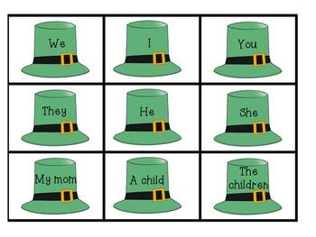 Writing Center: Leprechaun Build A Sentence Subject Verb and Preposition